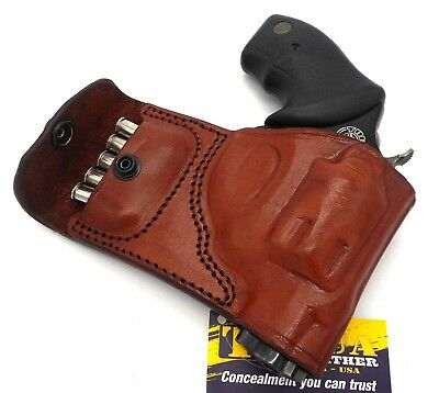 TAGUA BROWN LEATHER RH OWB Belt Holster with Ammo Pouch S&W J-FRAME ...