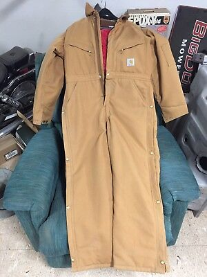 CARHARTT Duck COVERALL QUILT LINED Ret $110 Gold Brown Ankle to waist Zipper