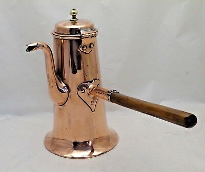 Antique English Copper Chocolate Pot  Fruit Wood Handle Heart Shaped Fitting