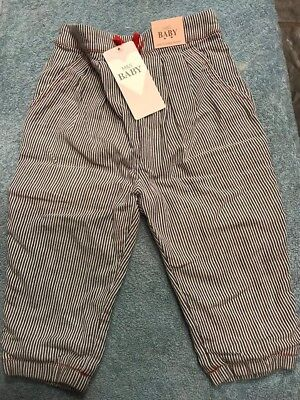 M&S Baby blue & white stripped trousers 9-12months