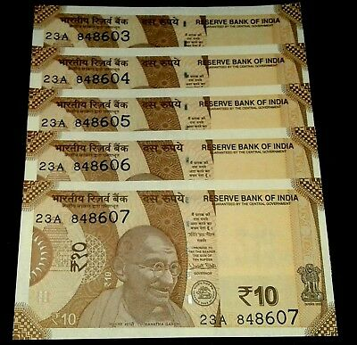 India New Rs.10 Rupees UNC Gandhi Note Just Released 2018 ,5 Serial Note Set