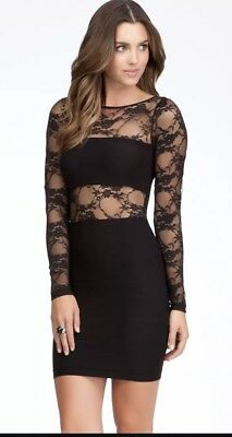 Black Bebe Lace Bodycon Dress Small S Sexy Mini Club cocktail