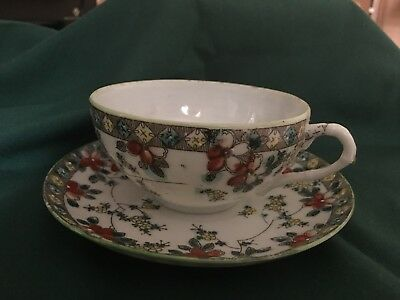 VINTAGE Made In Japan  Tea Cup & Saucer HAND PAINTED? FLORAL~Nice