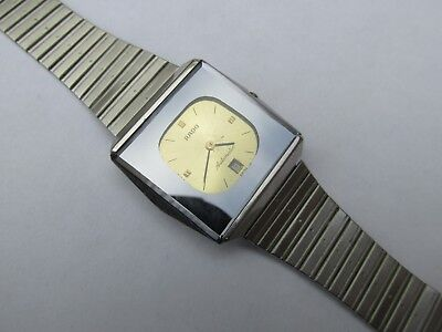 Vintage Men's Rado Automatic Day-Date Golden Dial Watch Swiss Made