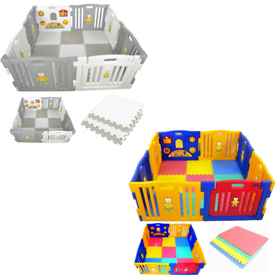 Baby Playpen by Millhouse Plastic Play Pen for Toddlers With Optional Playmats