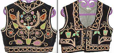 *Hand made VINTAGE BEAUTIFUL Velvet & gold thread Embroidered ethnic Vest