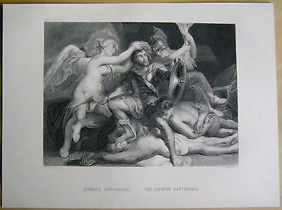 Sieger's Apotheose The Victor's Apotheosis P.P.Rubens Engraving  Stahlstich 1877