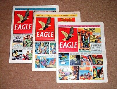 3 x EAGLE COMICS 1954 1 JAN VOL 5 No 1 + 15 JAN VOL 5 No 3 + 22 JAN VOL 5 No 4