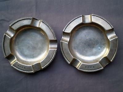 English Sterling 1927 Art Deco, Cigar Ashtrays William Hutton & Sons, Sheffield.