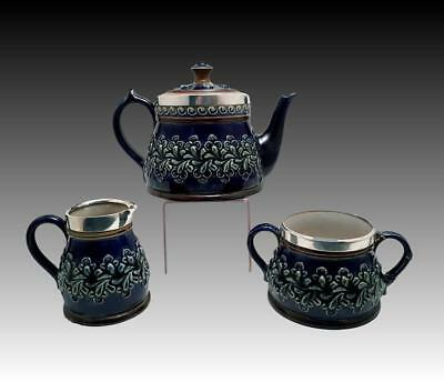 Antique Vicroeian Doulton Lambeth Stoneware Silver Collared Teaset
