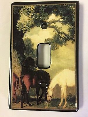Horse Single Toggle Switch plate light cover Ceramic Heaven without Horses NEW