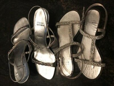 Stuart Weitzman Lot of 2 Shoes Sandals Flats Jelly Kitten Heel J Pre-owned Sz 7