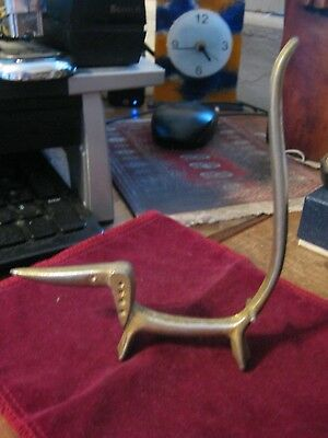Mid-Century Modern Long Nose Body & Tail DACHSHUND DOG Ring Holder Brass Plated
