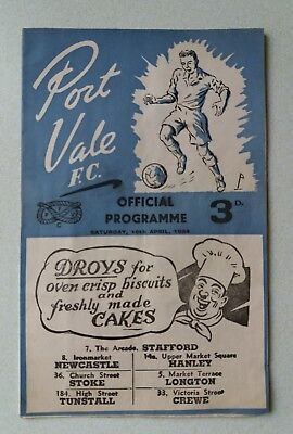 Port Vale  F.C. official programme 1954