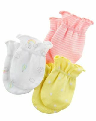 New Carter's Girls 3 Pack Baby Mittens sz 0-3 months NWT 100% Cotton Cloud