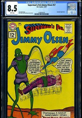 Superman's Pal Jimmy Olsen #57 12/61 Cgc Vf+ 8.5 White Pages---Supergirl