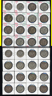 Lot Of 16  Standing Liberty Quarters- Includes Better Dates- No Reserve