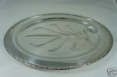 Vintage Silver Plate Serving Meat,turkey Oval Footed Tray,well Tree,ornate Rims