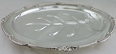 Antique English Silver Plated Meat Turkey Serving Tray W Well Holiday Dinnerware
