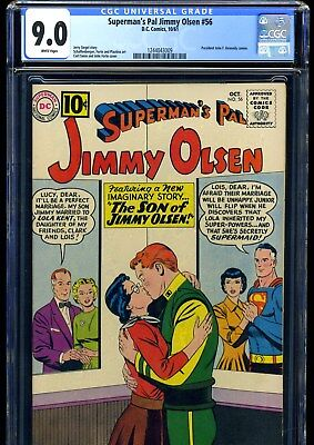 Superman's Pal Jimmy Olsen #56 10/61 Cgc Vf/nm 9.0 White Pages--- Last 10 Cent
