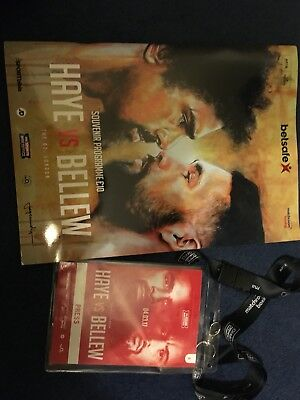 Tony Bellew v David Haye One. Official programme and press pass with lanyard.