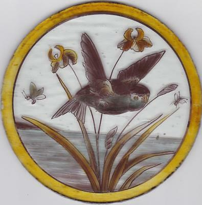 Victorian Stained Glass  Roundel  Of A Linnet