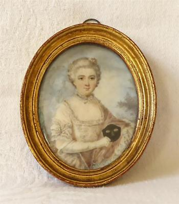 Antique Georgian Late 18Th Early 19Th C Portrait Miniature Of A Lady Signed