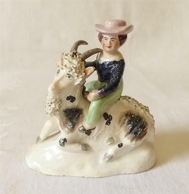Early 19Th C Staffordshire Figure Of A Boy Upon A Goat 1820/30