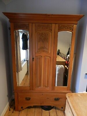 Beautiful Edwardian double Wardrobe with 2 mirrors and a drawer