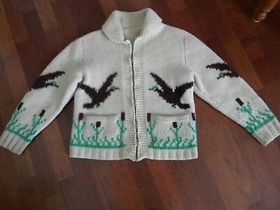 Vtg Homemade Hand Knit Cowichan style Sweater Cardigan Unisex Goose Duck