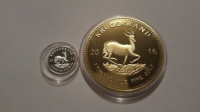 2016 1oz Gold South Africa Krugerrand EP .and 999 silver 1 gram coin