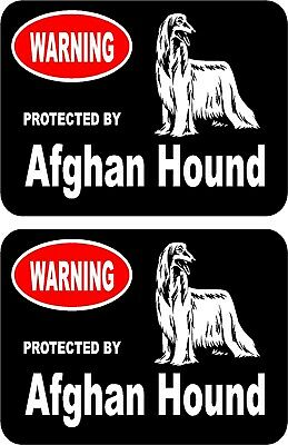 2 protected by Afghan Hound dog car home window bumper vinyl stickers #B