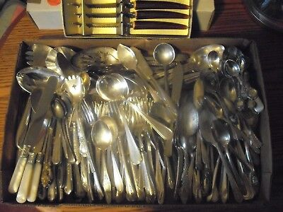 150 Pc Mixed Lot Silverplate/Antique Flatware/Serving   #164
