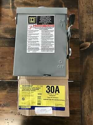 Square D Electric 30 Amp 240-Volt Outdoor General Duty Safety Switch (DU221RBUP)