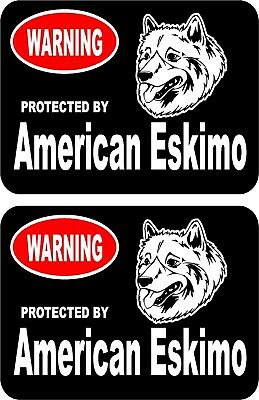 2 protected by American Eskimo dog car home window bumper vinyl stickers #B