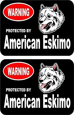 2 protected by American Eskimo dog car home window bumper vinyl stickers #C