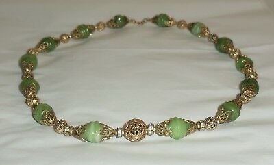 Vintage Art Deco Czech Filigree Green Art Glass Bead Rhinestone Necklace