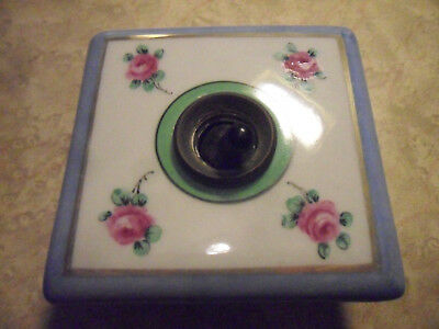 Antique Hand Painted China Light Switch Ceramic / Brass Switch Wall Fitting