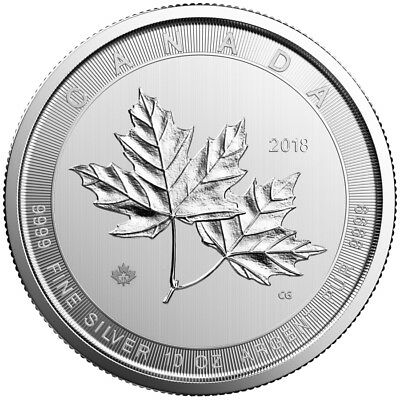 10 oz 2018 Silver Magnificent Maple Leaf Coin - .9999 RCM - Royal Canadian Mint
