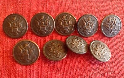 Lot 9 Antique WWI D. Evans & Co. Copper US Army Military Buttons World War I