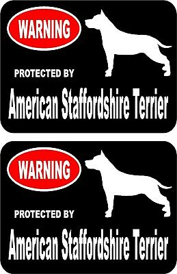 2 protected by American Staffordshire Terrier dog car window vinyl stickers #A