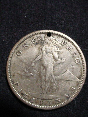 1907 PHILIPPINES One Peso UNITED STATES OF AMERICA Silver COIN