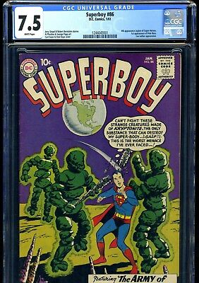 Superboy #86 1/61 Cgc Vf- 7.5 White Pages---Key Issue--1St Pete Ross, 4Th Legion