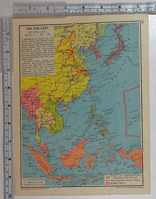 1941 Ww2 Map Far East Japan Philippine Islands East Indies Borneo Burma Attack