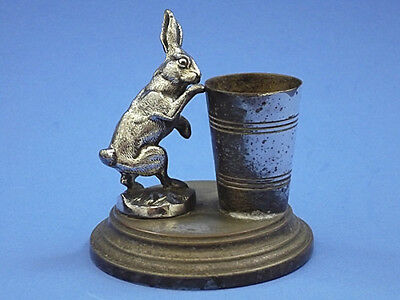 Antique RABBIT/ HARE / BUNNY Toothpick Match Holder 1890c.