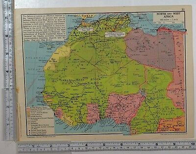 1941 Ww2 Map North & West Africa Sudan British Empire Naval Bases Air Routes