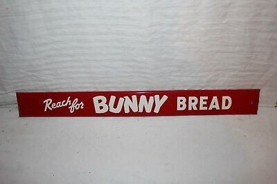 "Vintage 1950's Bunny Bread Gas Oil Soda Pop 28"" Embossed Metal Sign~Nice"