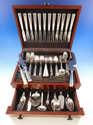 Modern Classic by Lunt Sterling Silver Flatware Set for 12 Service 114 pc Dinner