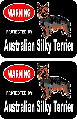 2 protected by Australian Silky Terrier dog car home window vinyl stickers #C