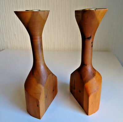 1960s Rare Matched Pair Vintage Hand Turned Pearwood Wooden Candlesticks Unused